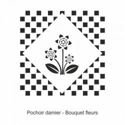 Pochoir damier - Bouquet fleurs