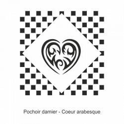 Pochoir damier - Cœur arabesque