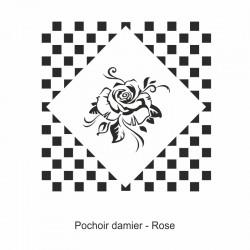 Pochoir damier - Rose