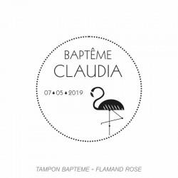 Tampon Baptême - Flamand Rose