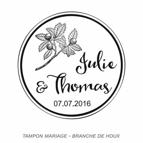 Tampon mariage branches de houx