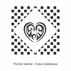 Pochoir damier - Cœur arabesque
