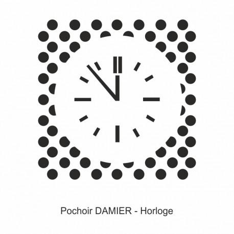 Pochoir damier - Horloge