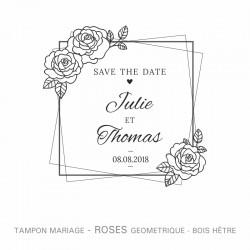 """Tampon mariage """"Roses géométriques"""""""