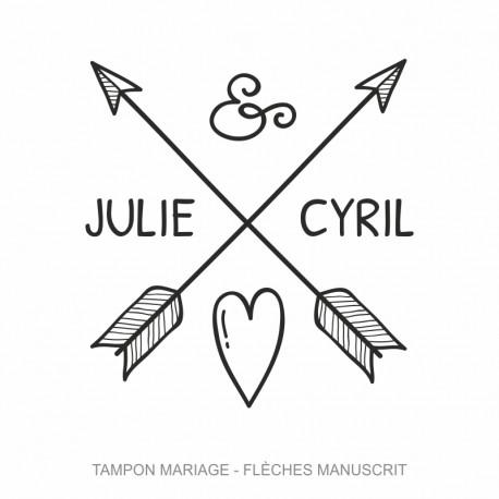 Tampon mariage Flèches Coeur Manuscrit