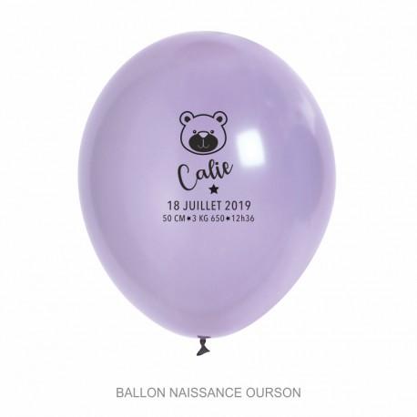 Ballons personnalisés - Naissance ourson